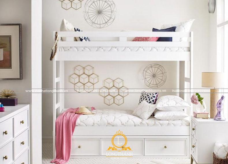 Phòng ngủ hiện đại bé gái màu trắng