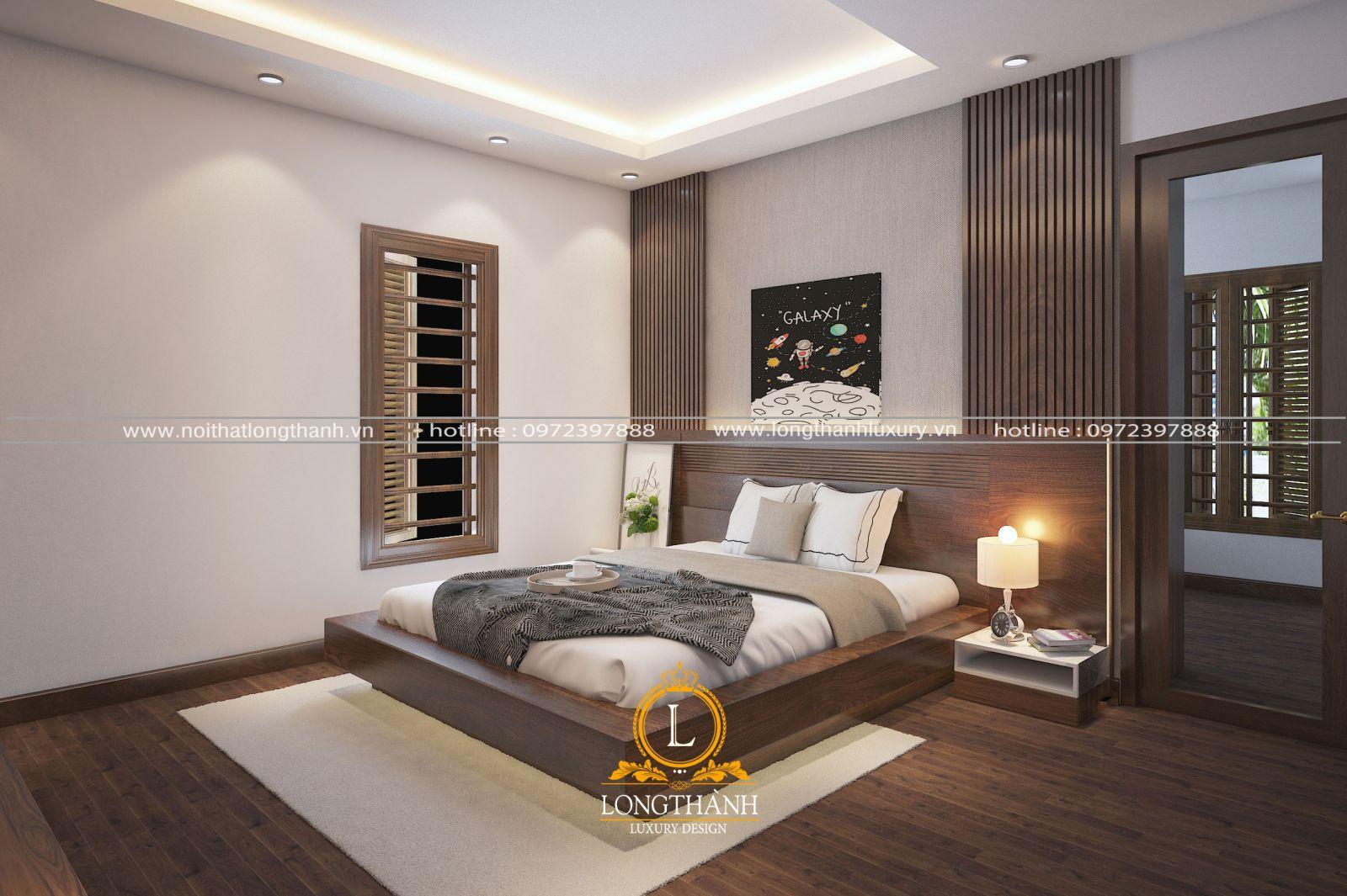 Thiết kế nội thất phòng ngủ hiện đại gỗ tự nhiên cho biệt thự liền kề
