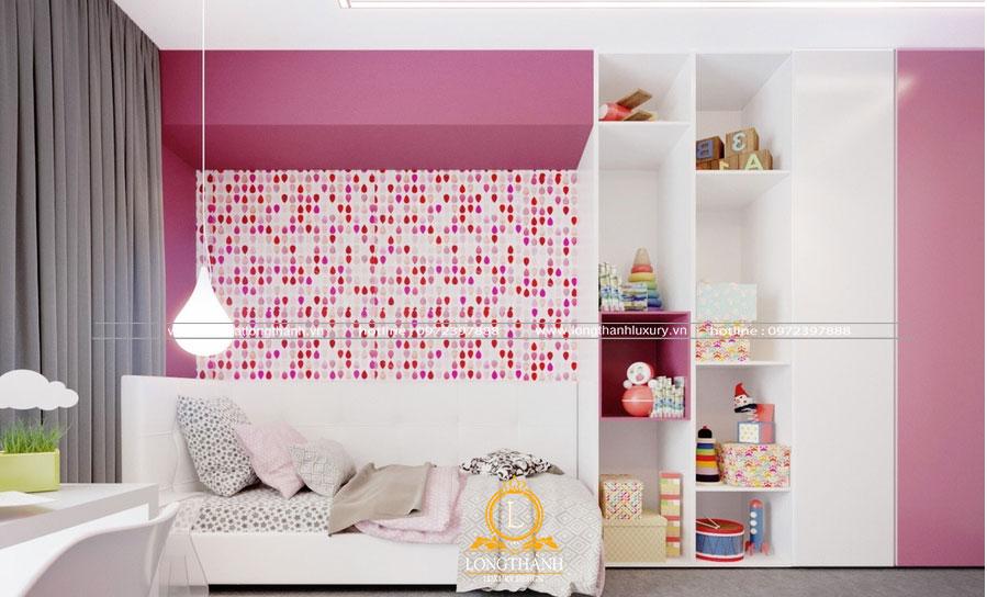 Phòng ngủ hiện đại cho cho bé gái nhiều đồ chơi