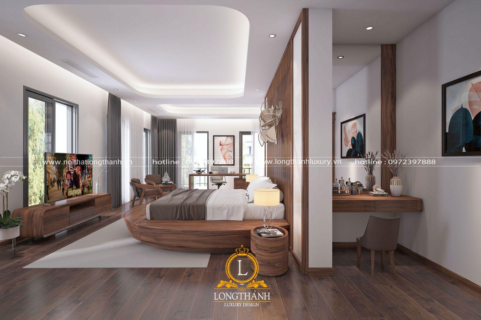 Phòng ngủ hiện đại mơ ước với chất liệu gỗ tự nhiên