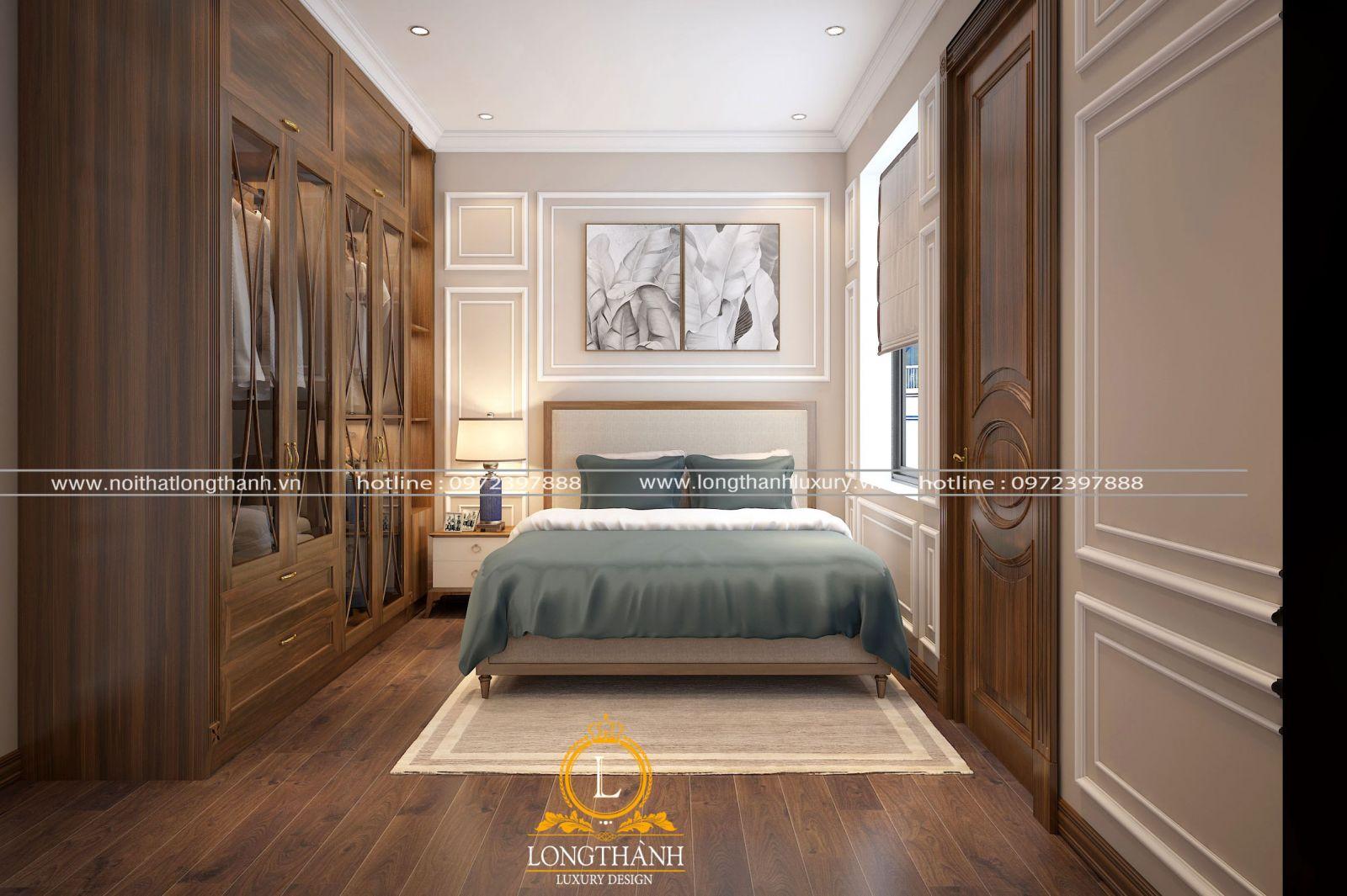 Phòng ngủ cho chung cư hiện đại nhỏ với màu nâu gỗ