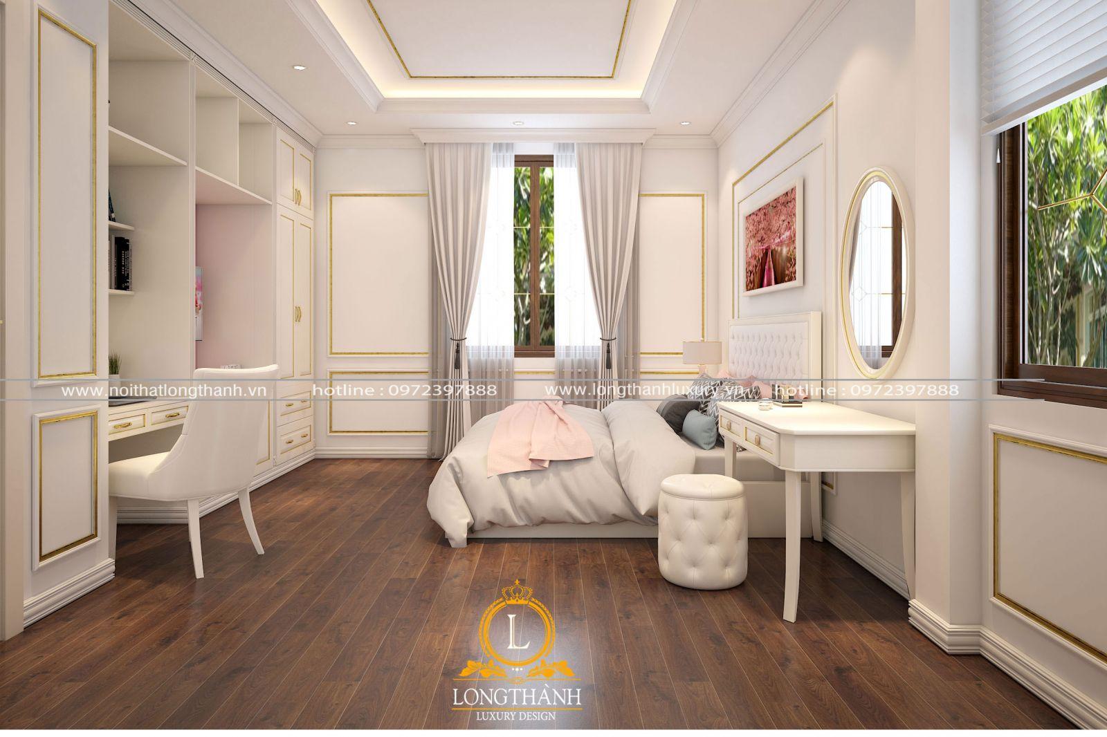 Phòng ngủ cho bé hiện đại nhẹ nhàng với màu sơn trắng