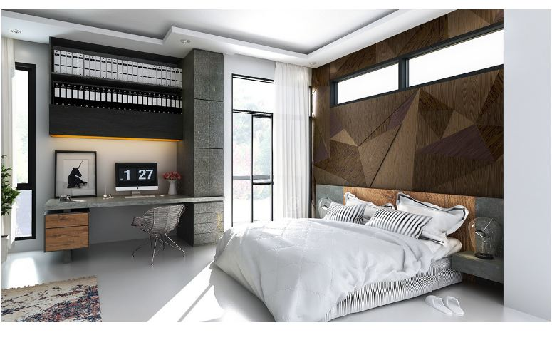 Mẫu phòng ngủ hiện địa ốp gỗ Laminate phái sau giường ngủ