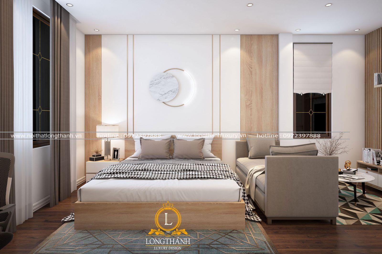 Thiết kế phòng ngủ nhà phố theo phong cách hiện đại với chất liệu đa dạng