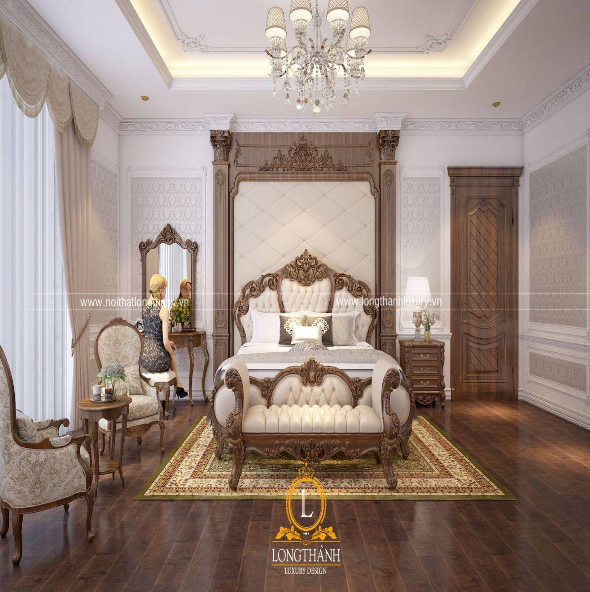 Phòng ngủ khách sạn rộng được thiết kế theo phong cách tân cổ điển
