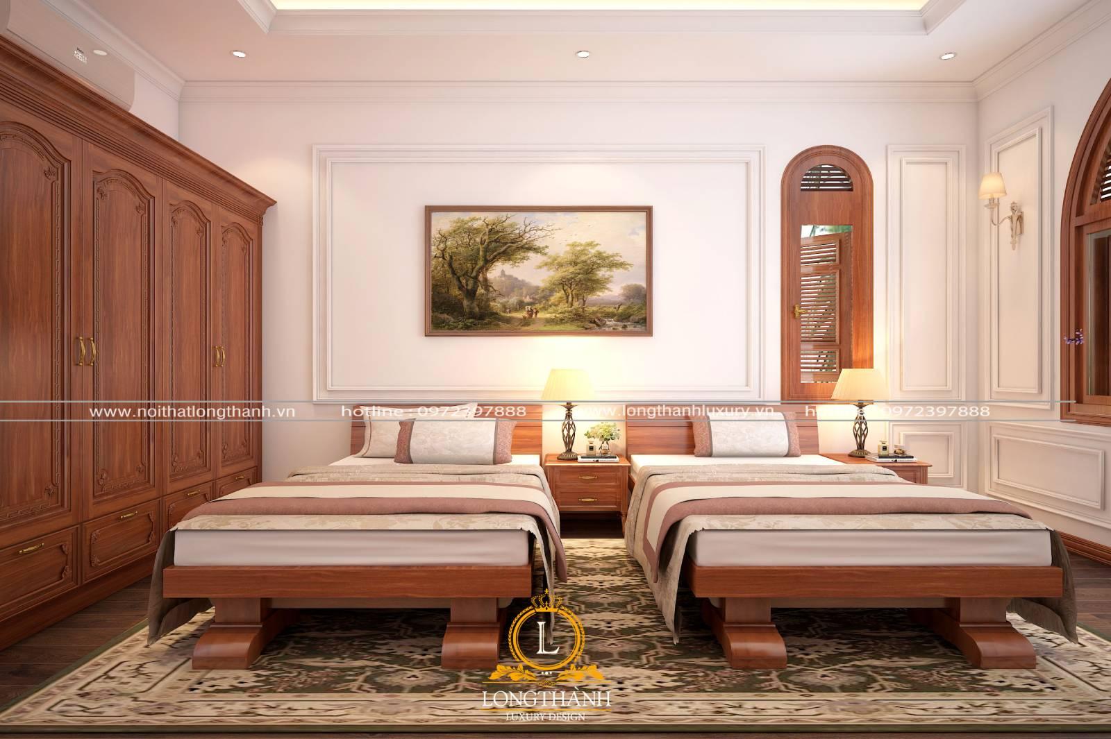 Phòng ngủ khách sạn tân cổ điển rộng hai giường đơn