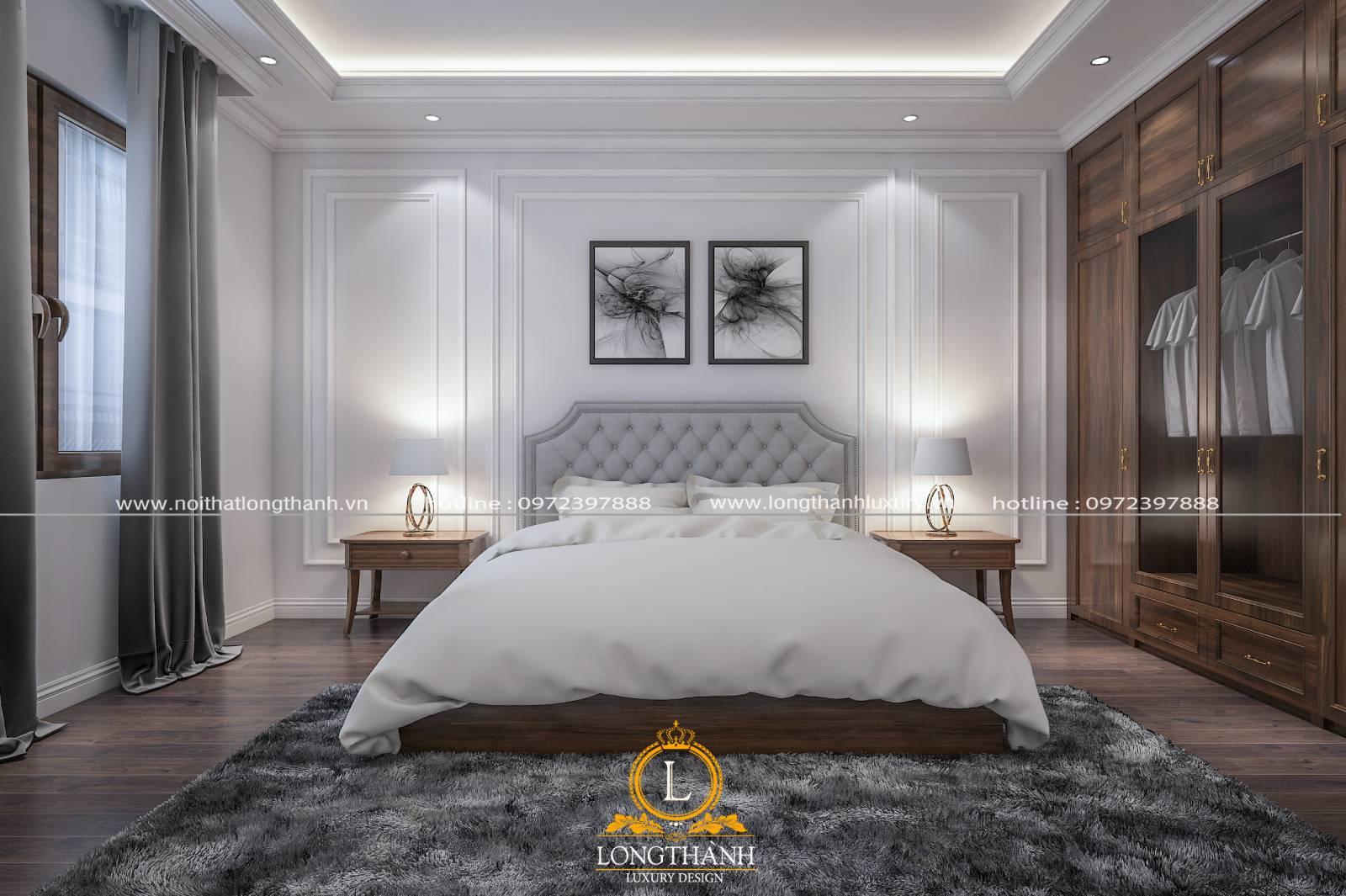 Phòng ngủ khách sạn tân cổ điển sử dụng tone màu trắng làm chủ đạo