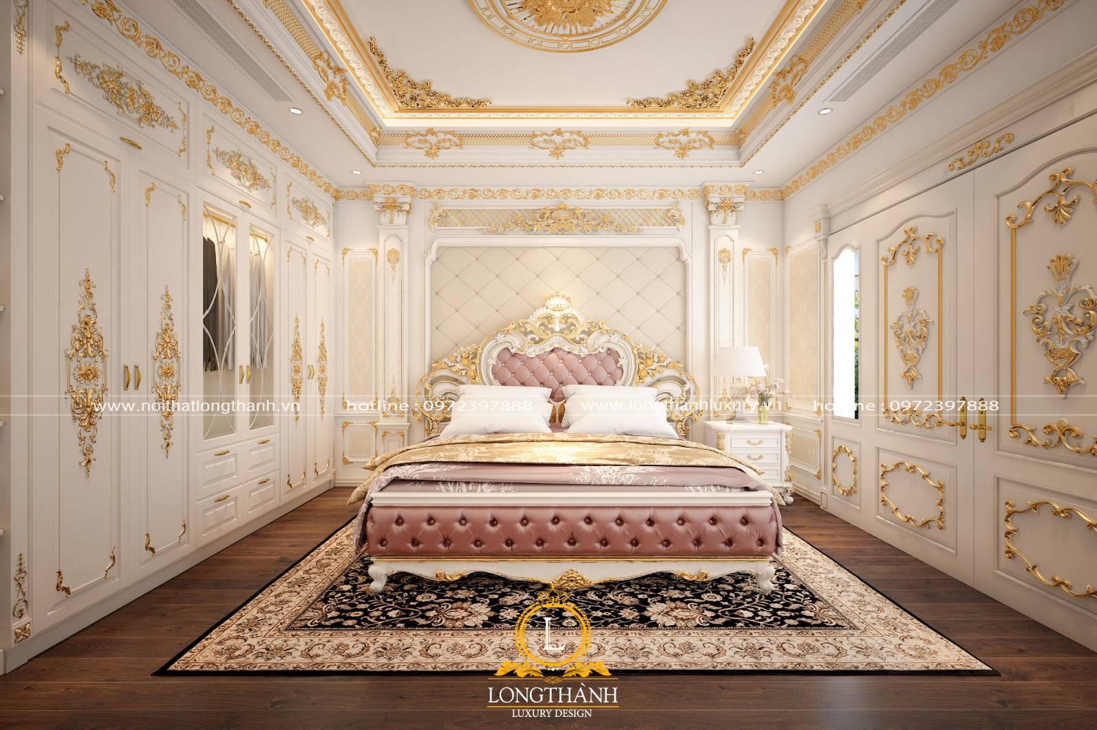 Thiết kế phòng ngủ sang trọng đẳng cấp với mẫu giường master tân cổ dát vàng
