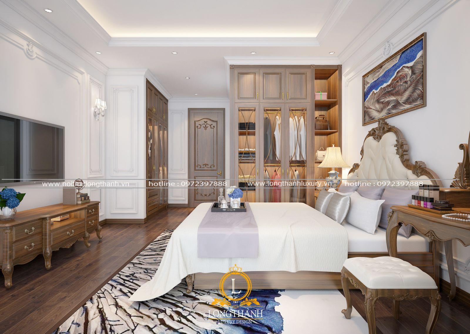 Phòng ngủ master màu hồng