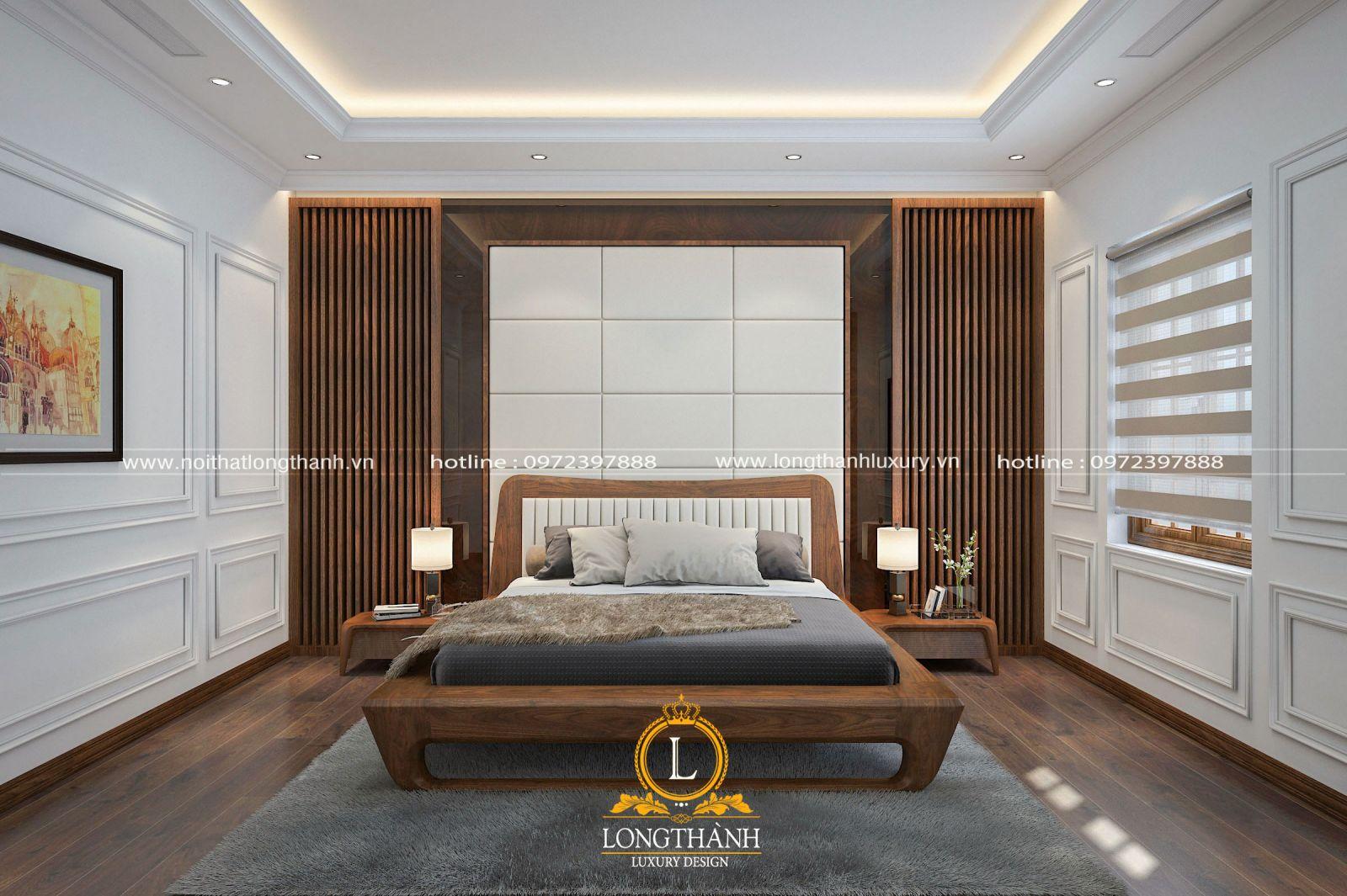 Phòng ngủ master được bài trí sang trọng thể hiện đẳng cấp không gian sống của chủ nhân