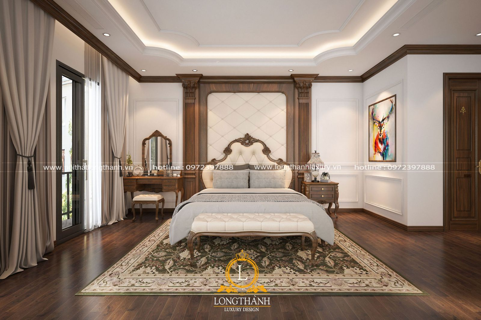 Phòng ngủ Master nhẹ nhàng với phong cách tân cổ điển