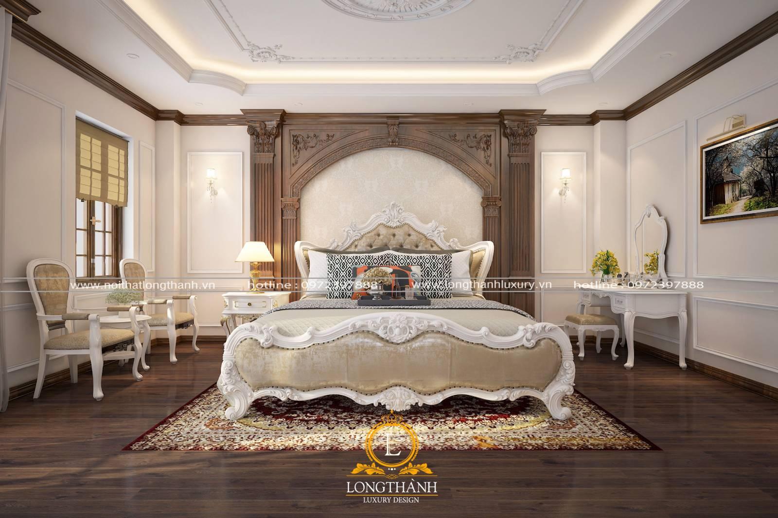 Giường ngủ tân cổ điển sử dụng cho nhà biệt thự rộng phong cách tân cổ điển