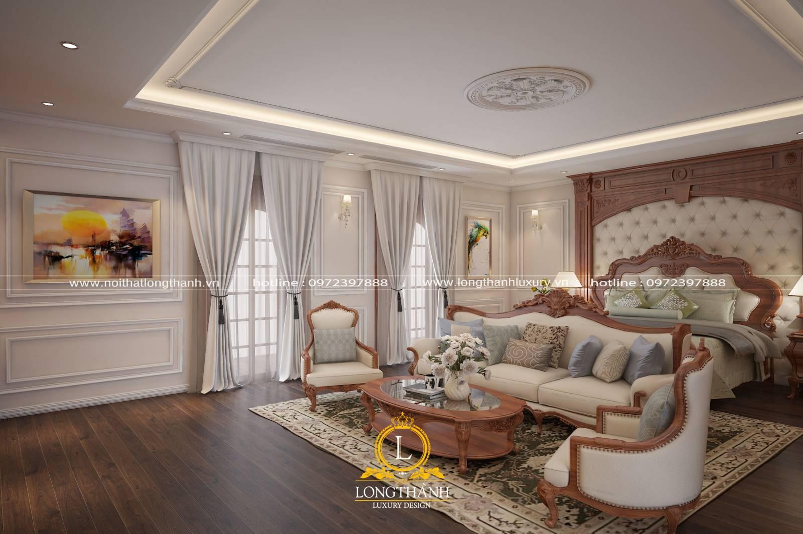 Phòng ngủ master tân cổ điển rộng có thêm bộ ghế sofa sang trọng