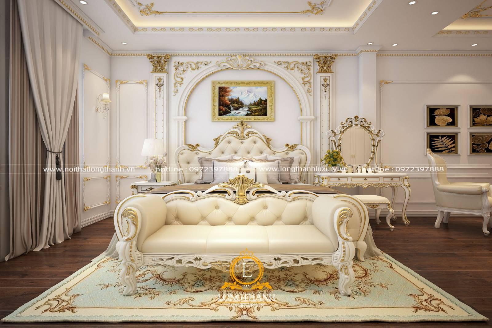 Mẫu phòng ngủ master tân cổ điển sơn trắng sang trọng lộng lẫy