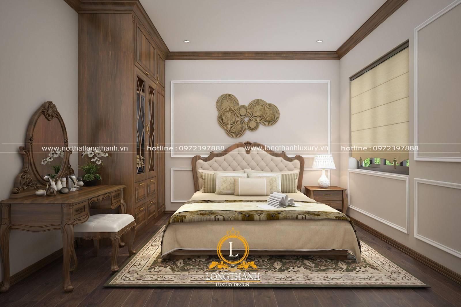 Phòng ngủ master tân cổ điển sử dụng chất liệu gỗ tự nhiên