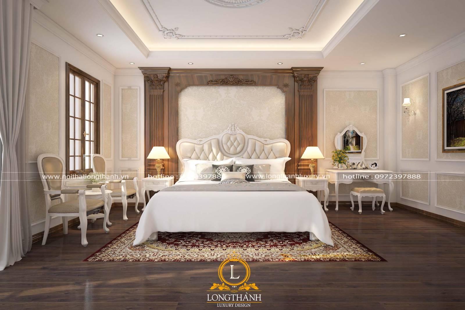 Phòng ngủ master tân cổ điển vừa sang trọng tiện nghi vừa hiện đại