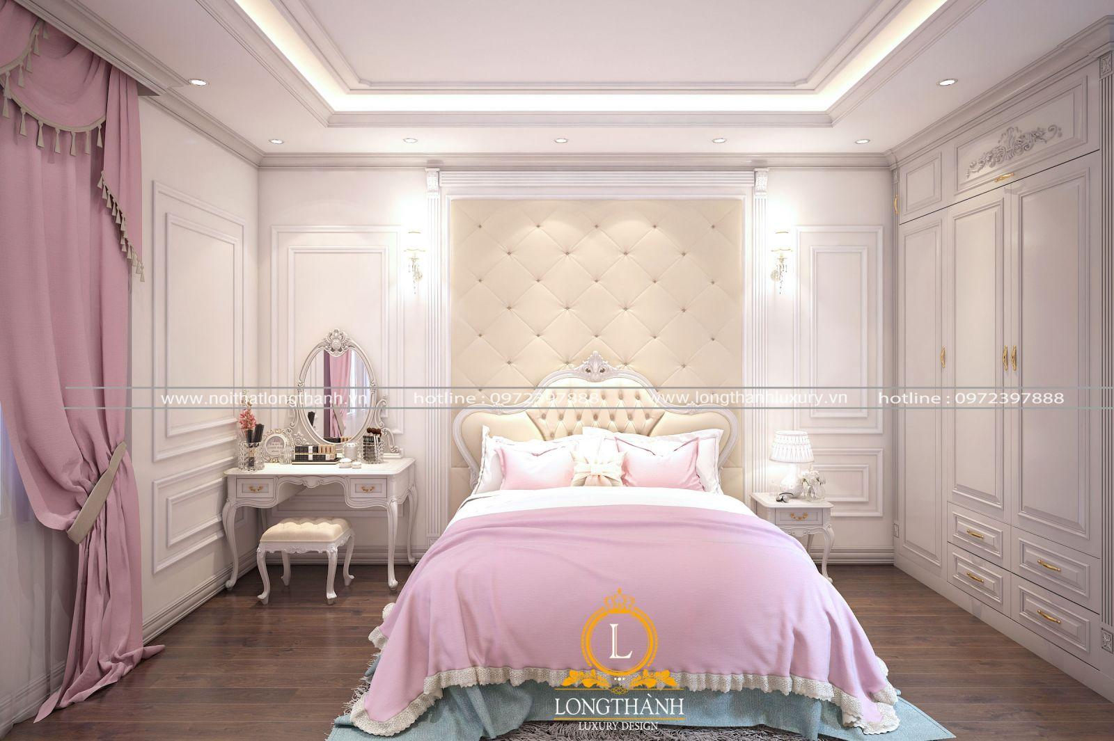 Mẫu phòng ngủ hiện đại màu hồng đặc biệt phù hợp cho những bé gái
