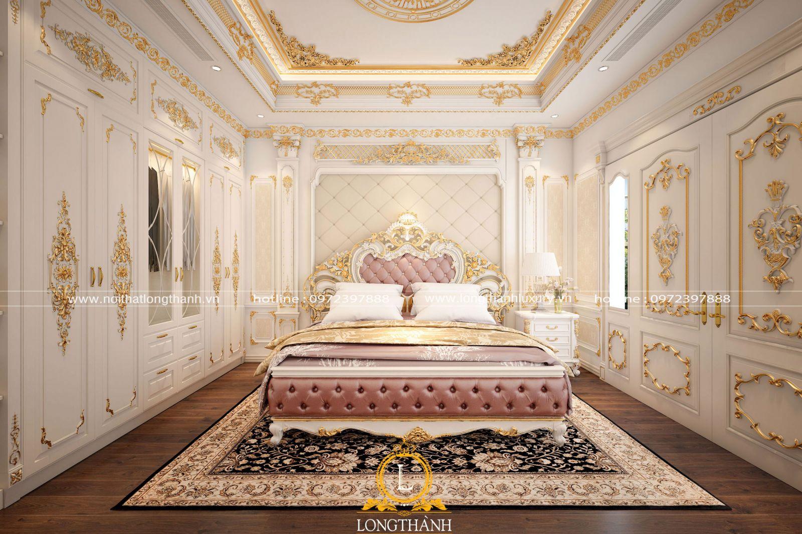Phòng ngủ  màu trắng được dát vàng lộng lẫya
