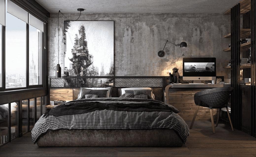 Phòng ngủ màu xám với cách trang trí mới lạ, độc đáo