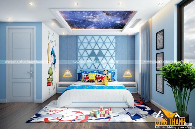 Mẫu phòng ngủ hiện đại với toogn màu xanh chủ đạo