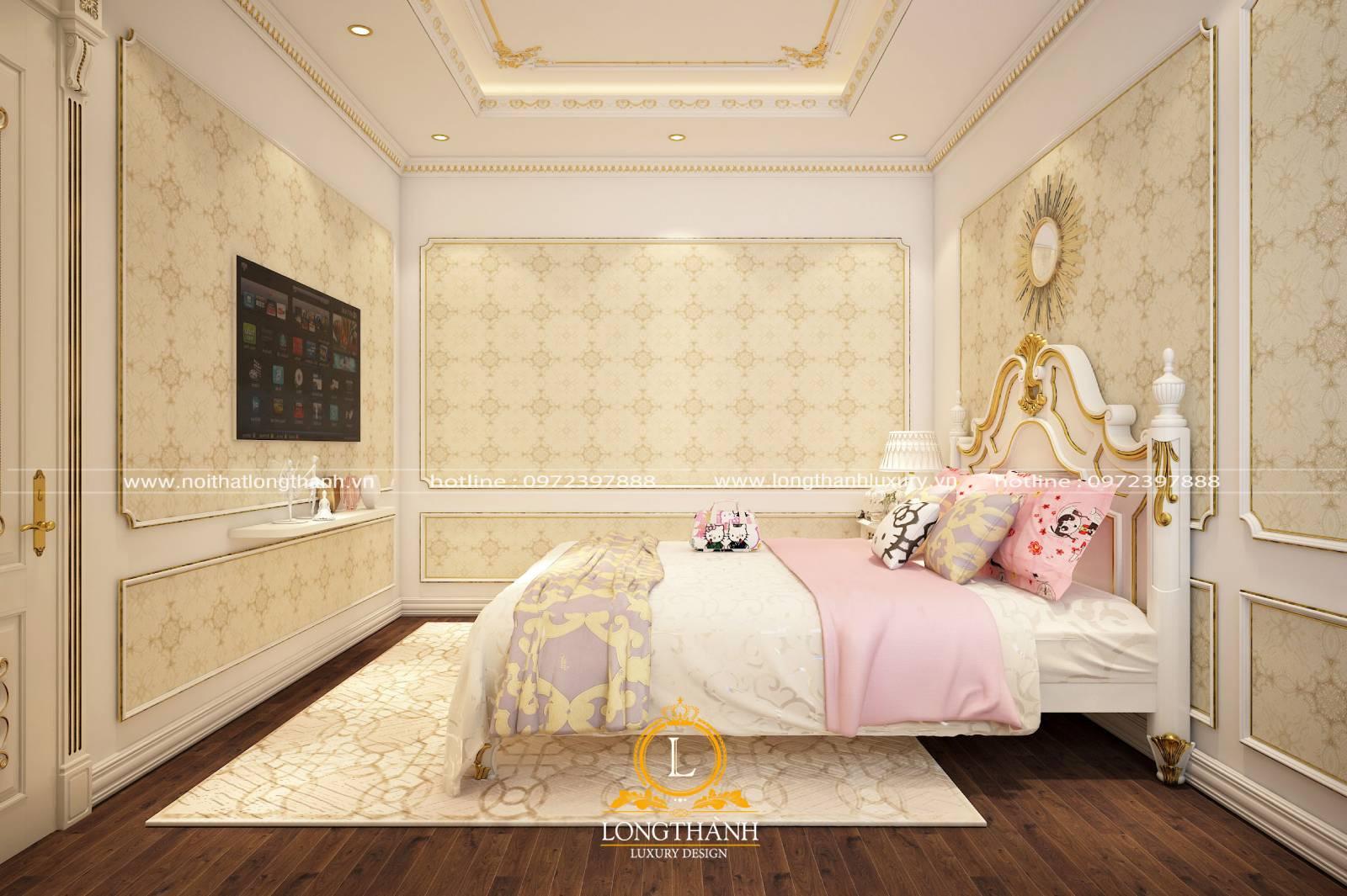 Phòng ngủ nhỏ tân cổ điển màu trắng thêm phần rộng thoáng hơn