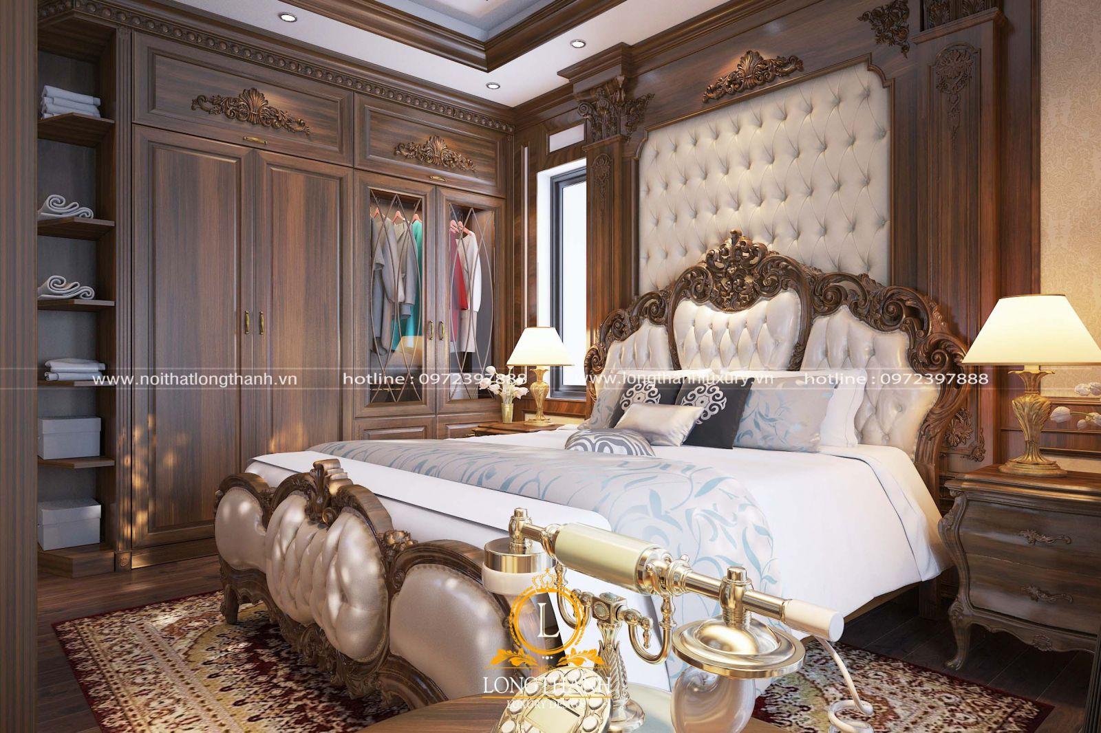 Tổng thể không gian phòng ngủ tân cổ điển ấn tượng với gỗ Óc chó