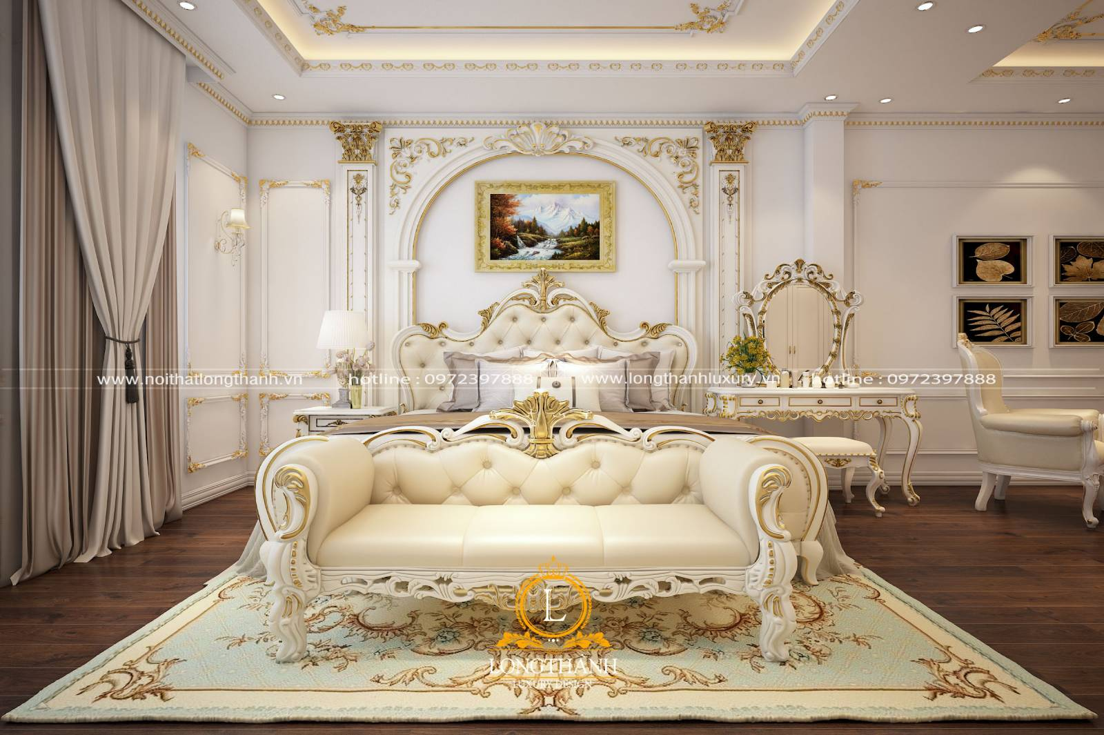 Phòng ngủ rộng theo phong cách tân cổ điển lấy tone màu trắng làm chủ đạo