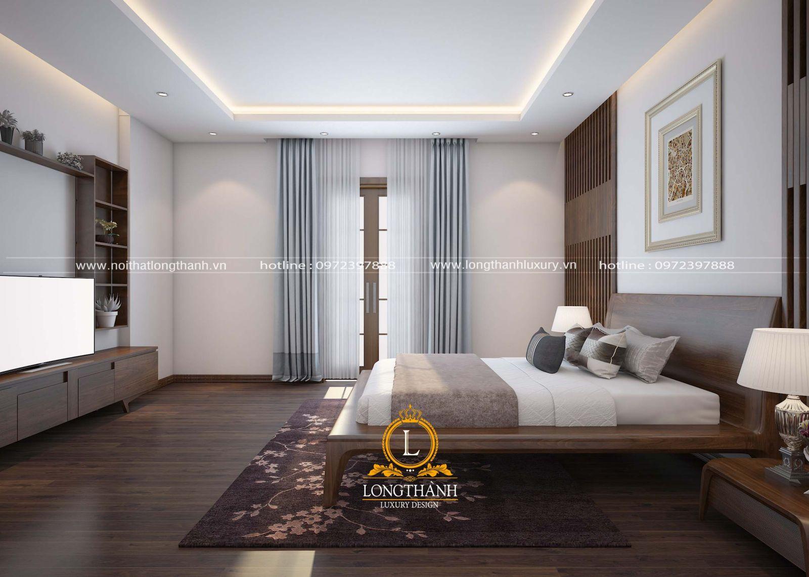Phòng ngủ tân cổ điển 20m2 với tone màu nâu của đồ nội thất gỗ tự nhiên cao cấp