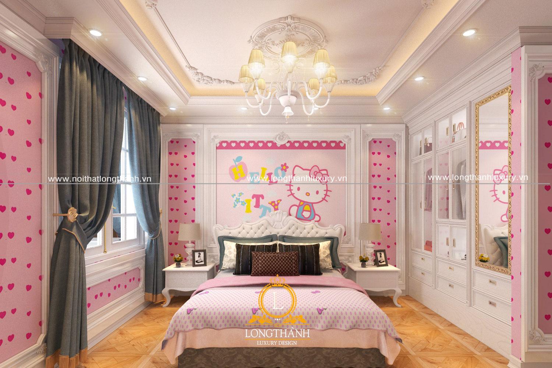 Phòng ngủ tân cổ điển cho bé gái hình Hello Kitty