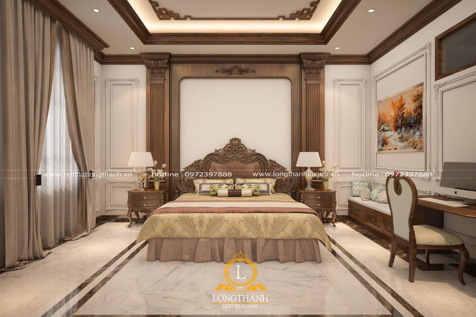 Mẫu phòng ngủ tân cổ điển sang trọng hiện đại cho nhà biệt thự song lập
