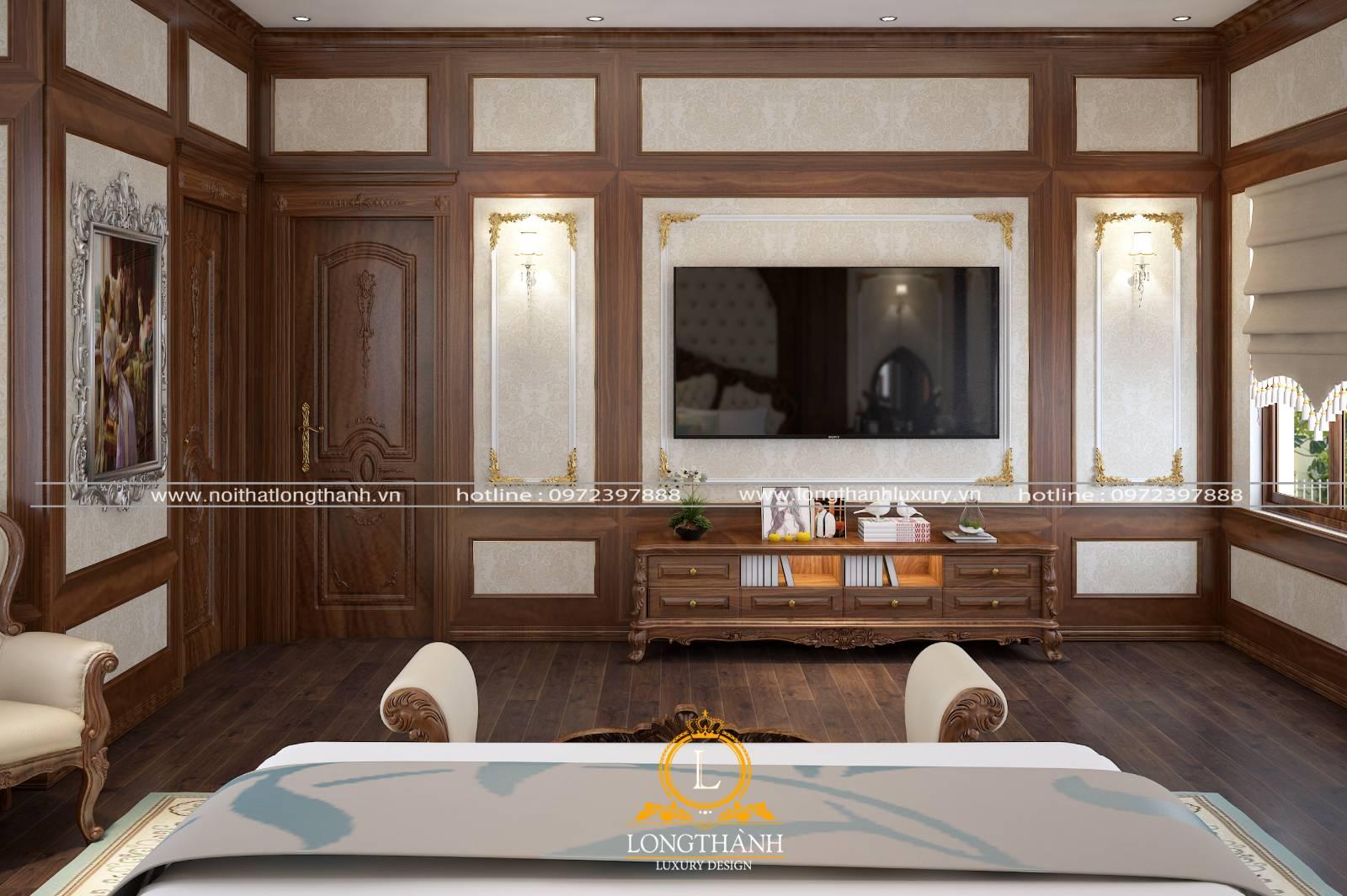 Phòng ngủ tân cổ điển có cửa gỗ tự nhiên được trang trí độc đáo