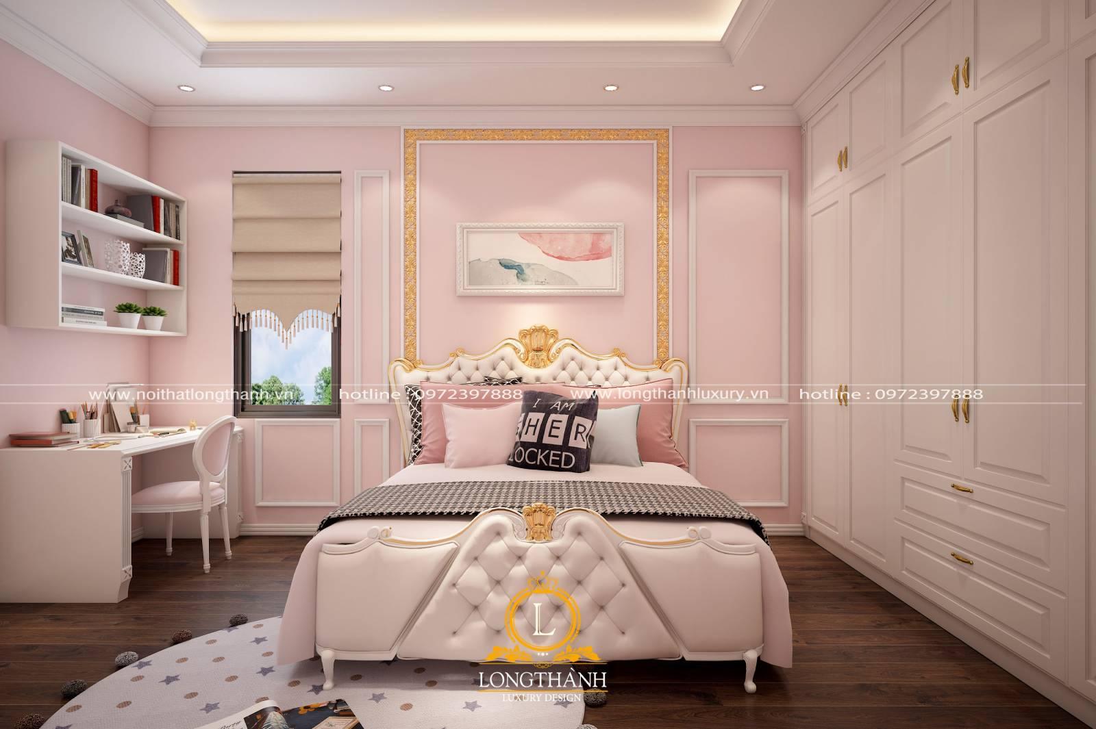 Phòng ngủ tân cổ điển đẹp màu trắng hồng dành cho các bé gái