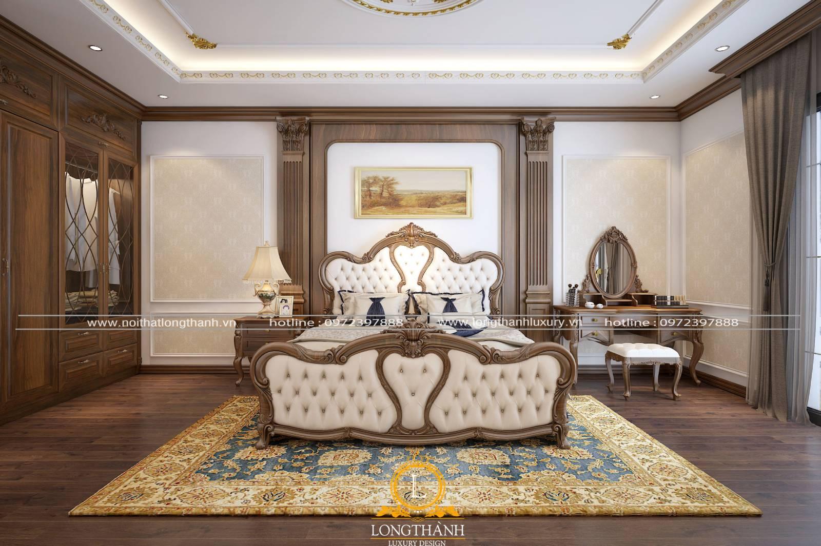 Phòng ngủ tân cổ điển gỗ tự nhiên cao cấp