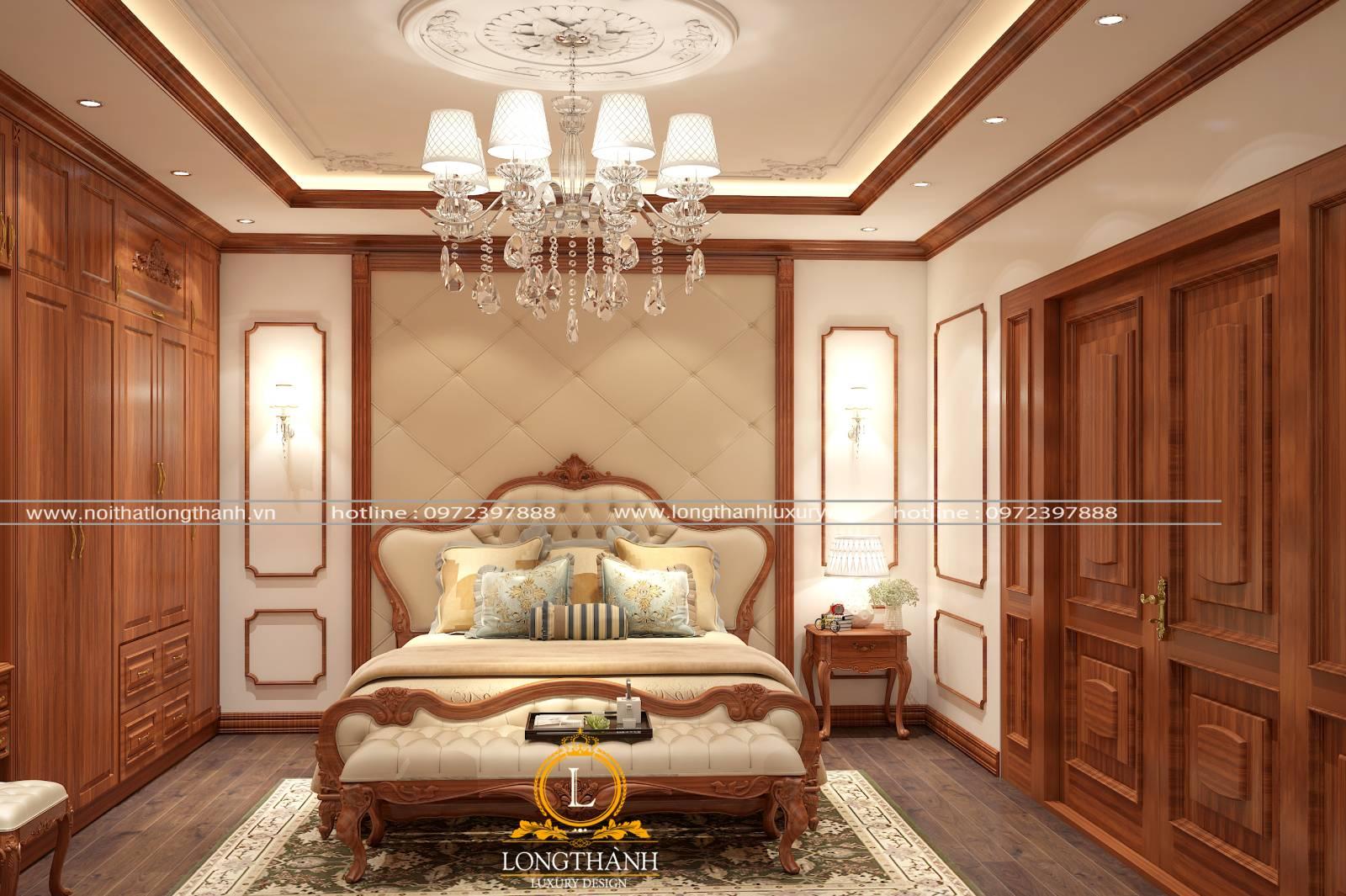 Phòng ngủ tân cổ điển làm từ chất liệu gỗ tự nhiên