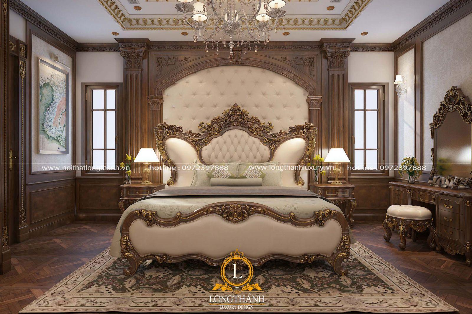 Phòng ngủ tân cổ điển đẹp tinh tế với giường ngủ master dát vàng