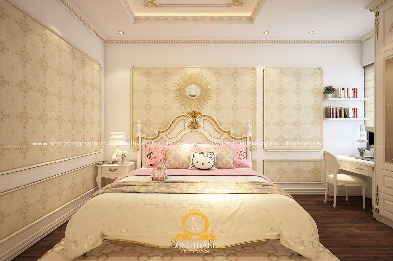 Phòng ngủ tân cổ điển lấy tông trắng chủ đạo cho bé gái