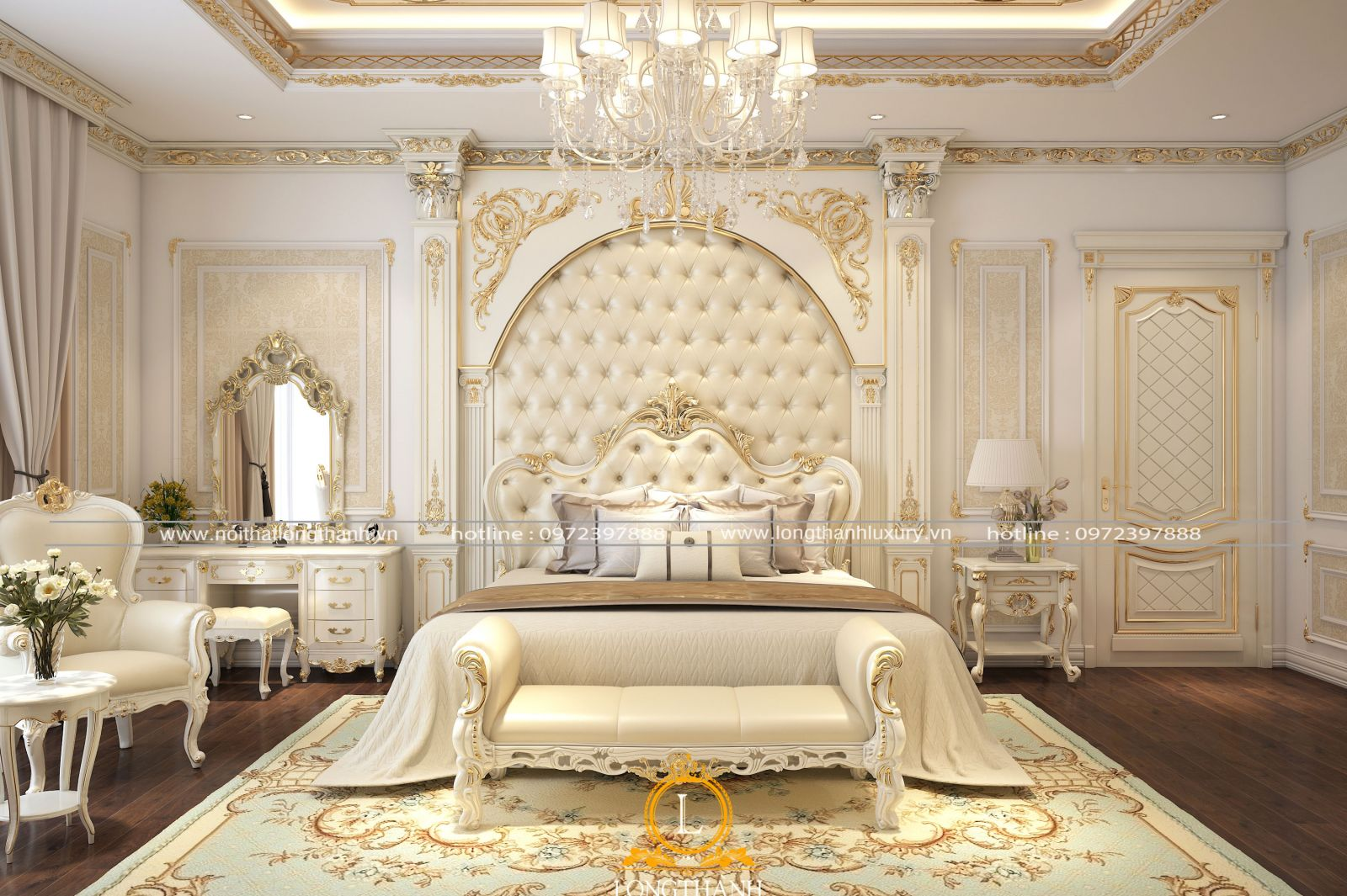 Phòng ngủ tân cổ điển sơn trắng sang trọng tinh tế