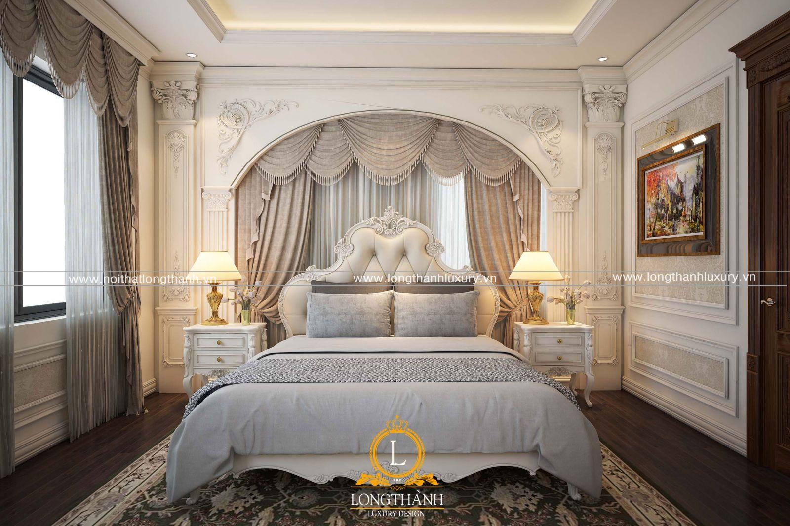 Thiết kế giường ngủ tân cổ điển màu trắng cho phòng ngủ nhà phố