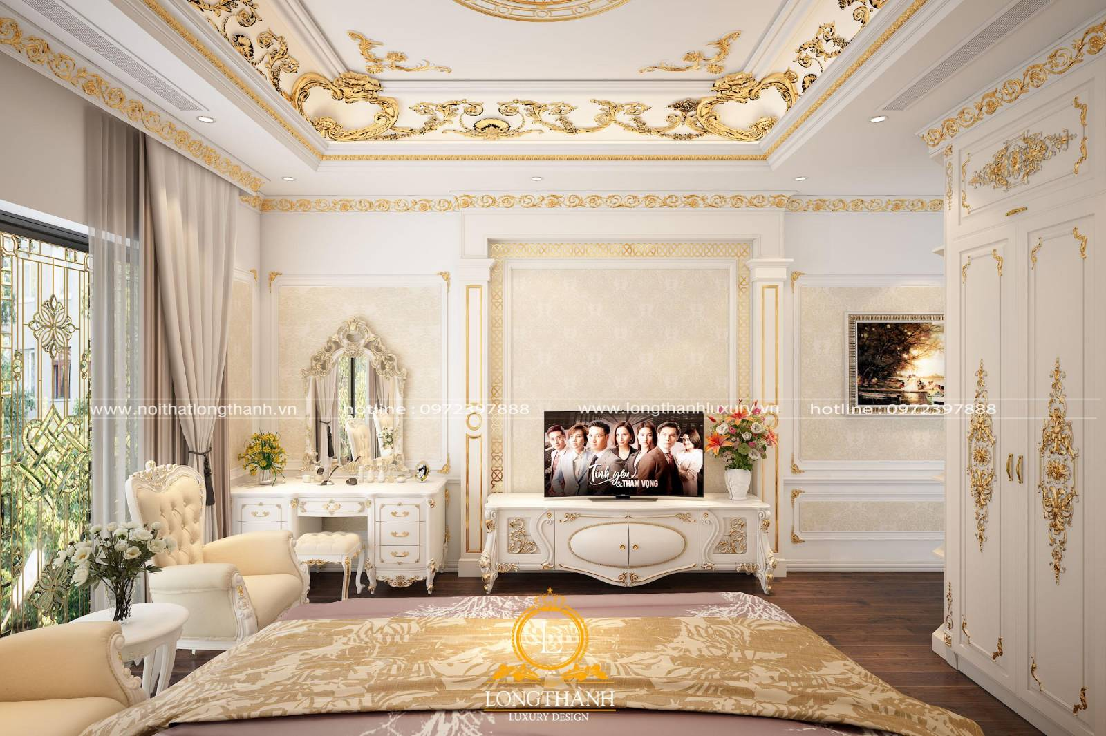 Phòng ngủ tân cổ điển thể hiện đầy đủ vị trí màu sắc các món đồ