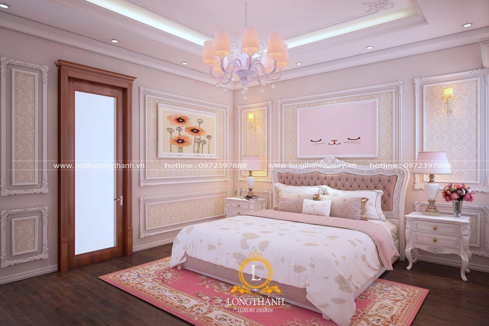 Phòng ngủ tân cổ điển màu hồng thơ mộng