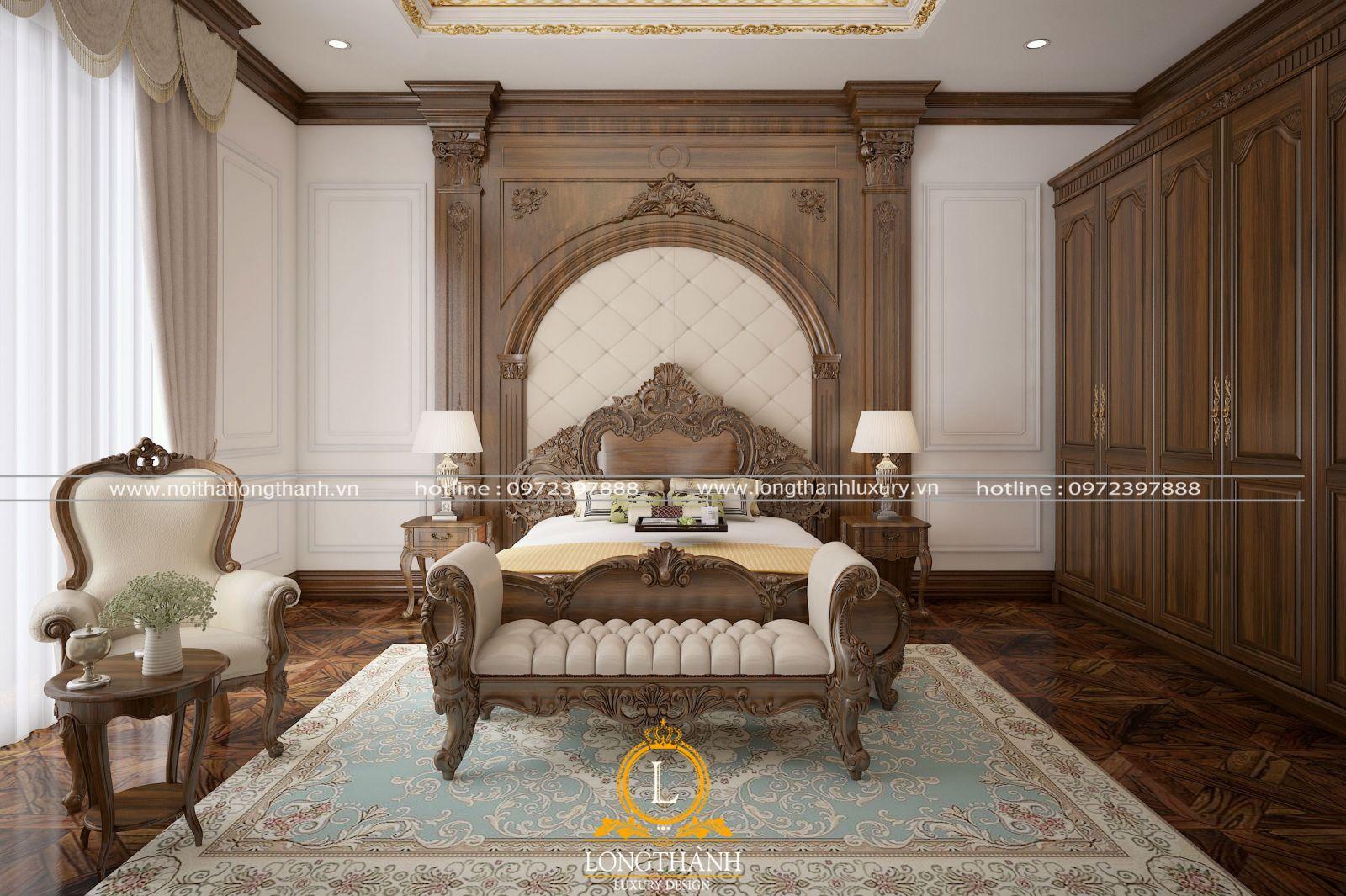 Chất liệu và màu sắc phòng ngủ tân cổ điển cần hài hòa với tổng thể không gian