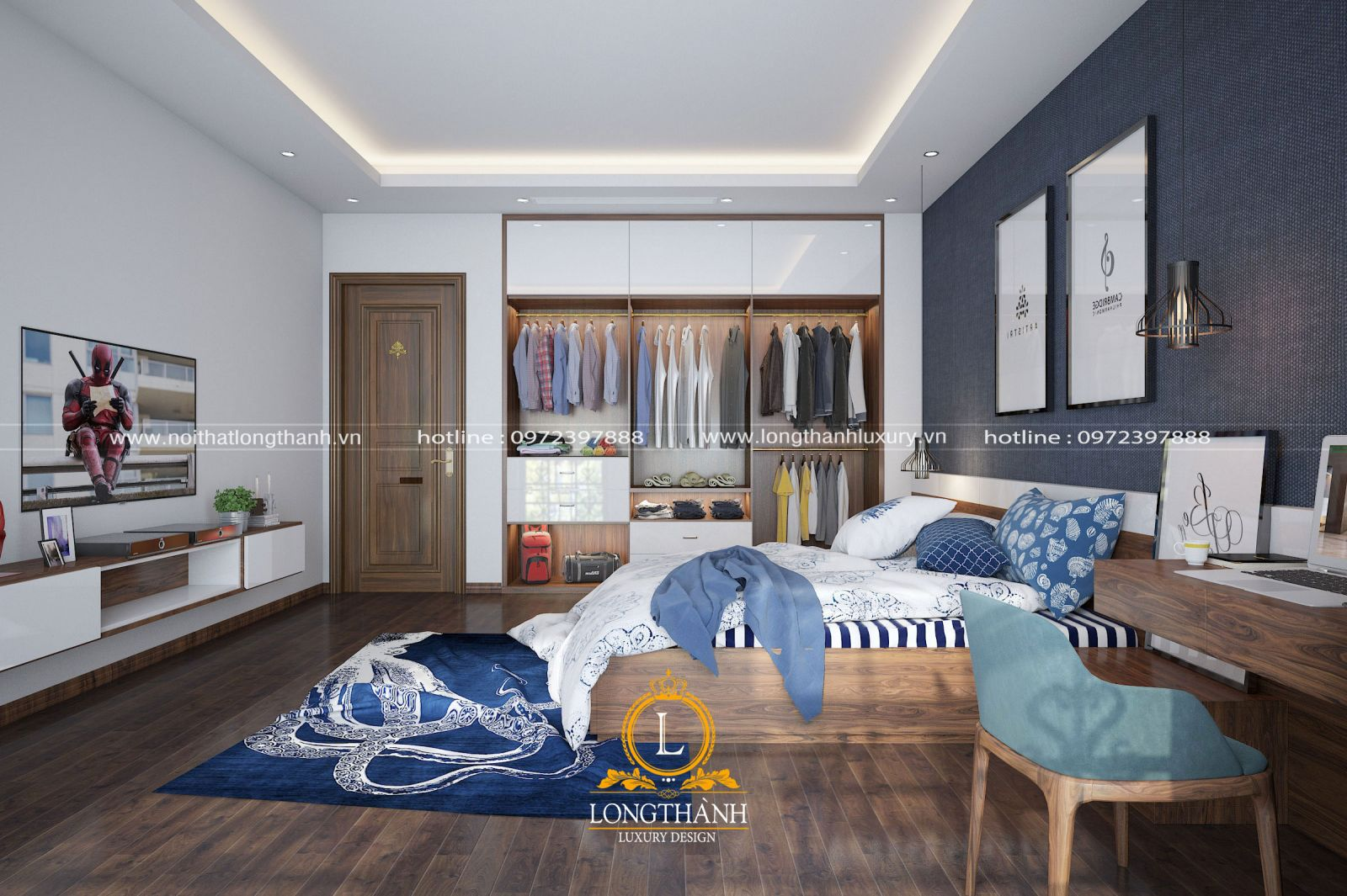 Phòng ngủ với màu xanh dương ấn tượng