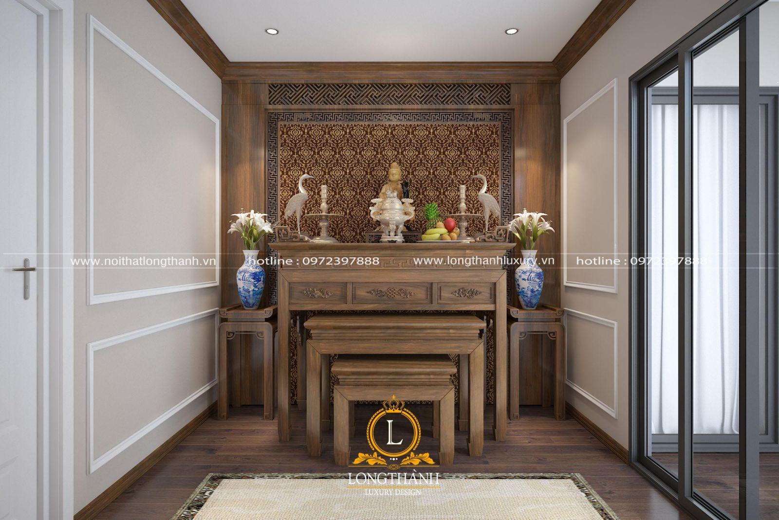 Trần thạch cao phòng thờ đơn giản