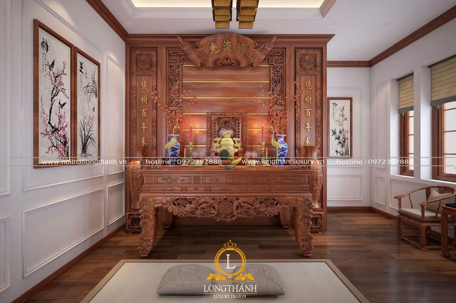 Phòng thờ gỗ gõ đỏ cao cấp mang phong cách tân cổ điển