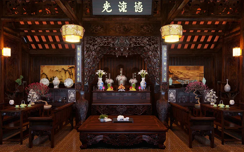 Mẫu phòng thờ nhà phố, nhà cấp 4 thiết kế theo lối cổ điển truyền thống
