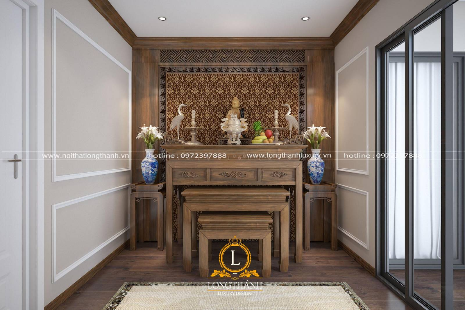 Thiết kế phòng thờ phật cho chung cư chất liệu gỗ Gõ cao cấp