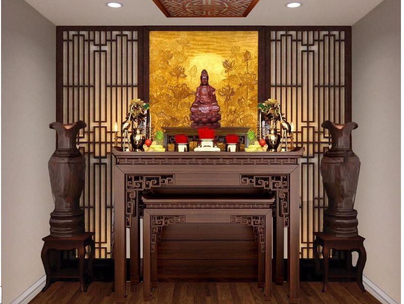 Mẫu phòng thờ phật cho nhà chung cư được thiết kế hài hòa cân đối
