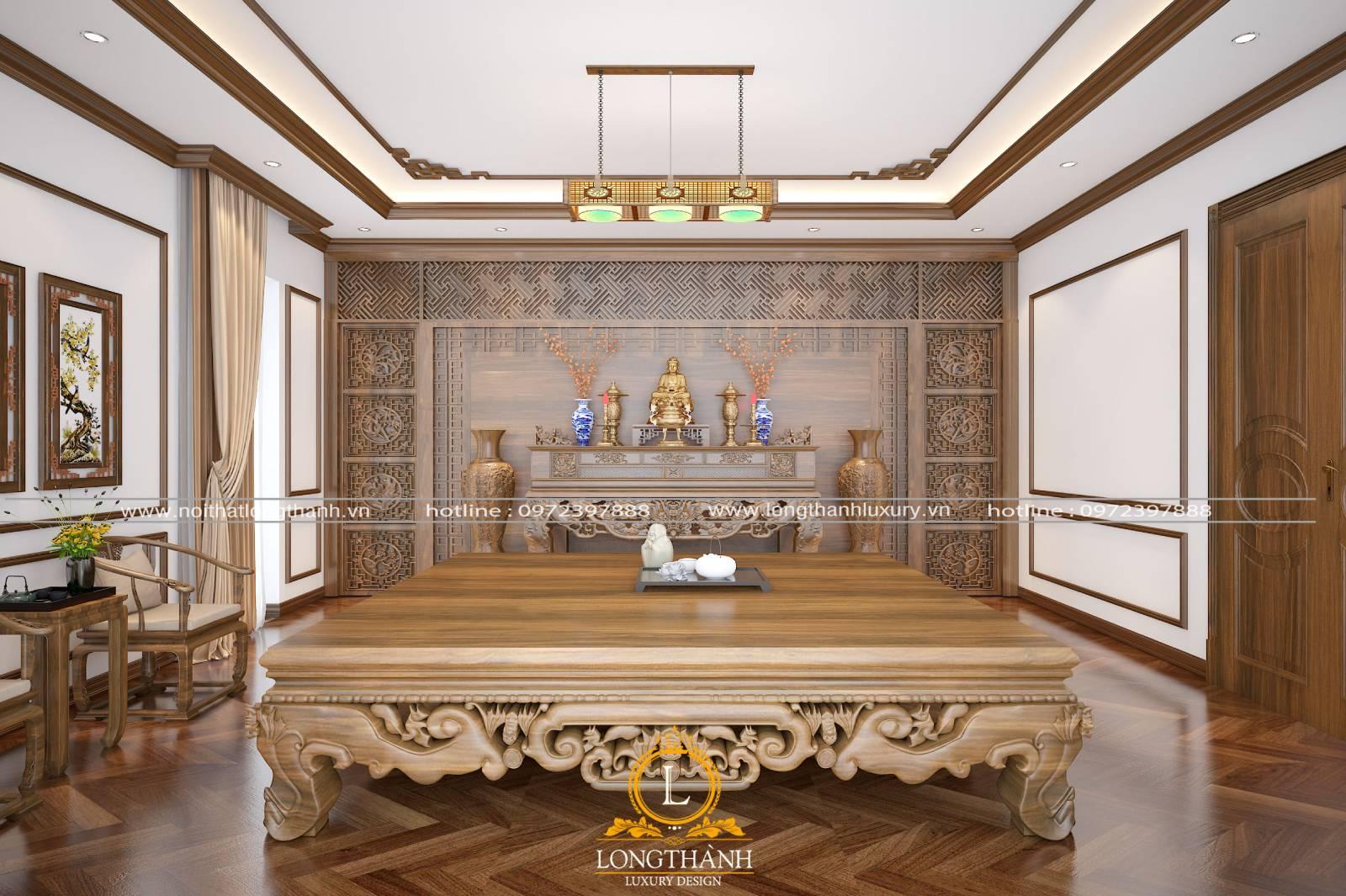 Thiết kế phòng thờ phật tân cổ điển sử dụng chất liệu gỗ Gụ
