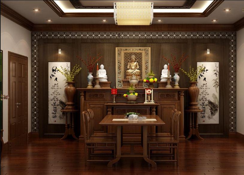 Thiết kế phòng thờ phật tân cổ điển đơn giản cho không gian biệt thự
