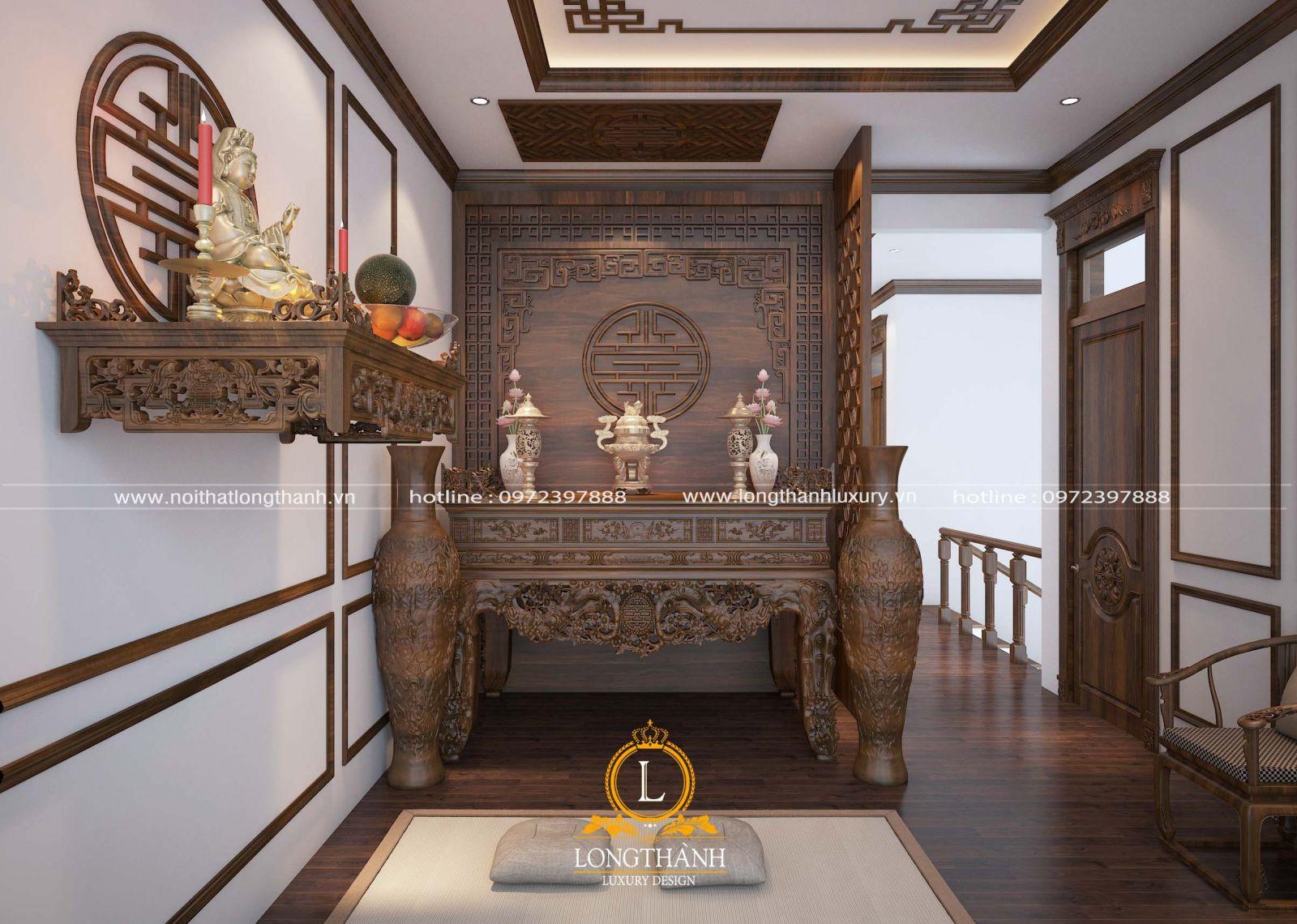 Thiết kế phòng thờ phật tân cổ điển sang trọng uy nghiêm cho nhà biệt thự